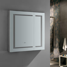 "Load image into Gallery viewer, Fresca Spazio 30"" Wide x 30"" Tall Bathroom Medicine Cabinet w/ LED Lighting & Defogger"