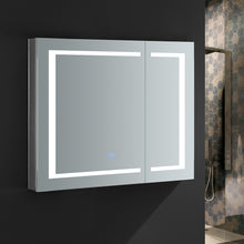 "Load image into Gallery viewer, Fresca Spazio 36"" Wide x 30"" Tall Bathroom Medicine Cabinet w/ LED Lighting & Defogger"