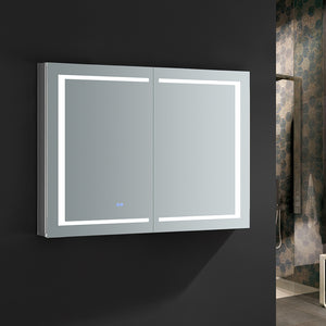 "Fresca Spazio 48"" Wide x 36"" Tall Bathroom Medicine Cabinet w/ LED Lighting & Defogger"