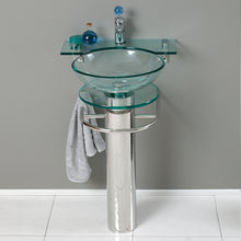 "Load image into Gallery viewer, Fresca Ovale 24"" Modern Glass Bathroom Vanity w/ Frosted Edge Mirror"