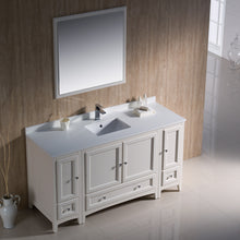 "Load image into Gallery viewer, Fresca Oxford 60"" Antique White Traditional Bathroom Vanity"