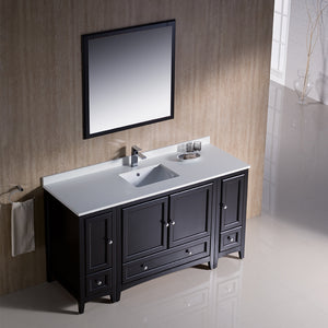 "Fresca Oxford 60"" Espresso Traditional Bathroom Vanity"