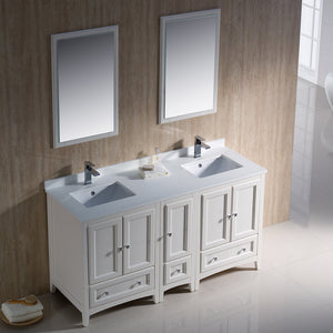 "Fresca Oxford 60"" Antique White Traditional Double Sink Bathroom Vanity"