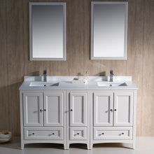 "Load image into Gallery viewer, Fresca Oxford 60"" Antique White Traditional Double Sink Bathroom Vanity"