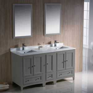"Fresca Oxford 60"" Gray Traditional Double Sink Bathroom Vanity"