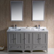 "Load image into Gallery viewer, Fresca Oxford 60"" Gray Traditional Double Sink Bathroom Vanity"