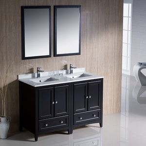 "Fresca Oxford 48"" Espresso Traditional Double Sink Bathroom Vanity"