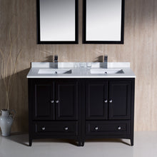 "Load image into Gallery viewer, Fresca Oxford 48"" Espresso Traditional Double Sink Bathroom Vanity"