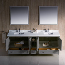 "Load image into Gallery viewer, Fresca Oxford 84"" Gray Traditional Double Sink Bathroom Vanity"