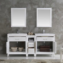 "Load image into Gallery viewer, Fresca Cambridge 72"" White Double Sink Traditional Bathroom Vanity w/ Mirrors"