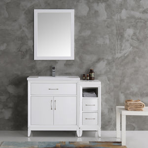 "Fresca Cambridge 42"" White Traditional Bathroom Vanity w/ Mirror"