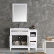 "Load image into Gallery viewer, Fresca Cambridge 42"" White Traditional Bathroom Vanity w/ Mirror"
