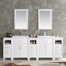 "Load image into Gallery viewer, Fresca Cambridge 84"" White Double Sink Traditional Bathroom Vanity w/ Mirrors"