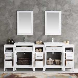 "Fresca Cambridge 84"" White Double Sink Traditional Bathroom Vanity w/ Mirrors"