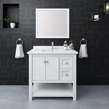 "Load image into Gallery viewer, Fresca Manchester 36"" White Traditional Bathroom Vanity w/ Mirror"