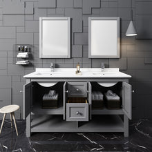 "Load image into Gallery viewer, Fresca Manchester 60"" Gray Traditional Double Sink Bathroom Vanity w/ Mirrors"