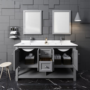 "Fresca Manchester 60"" Gray Traditional Double Sink Bathroom Vanity w/ Mirrors"