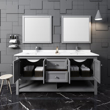 "Load image into Gallery viewer, Fresca Manchester 72"" Gray Traditional Double Sink Bathroom Vanity w/ Mirrors"