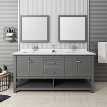 "Load image into Gallery viewer, Fresca Manchester Regal 72"" Gray Wood Veneer Traditional Double Sink Bathroom Vanity w/ Mirrors"