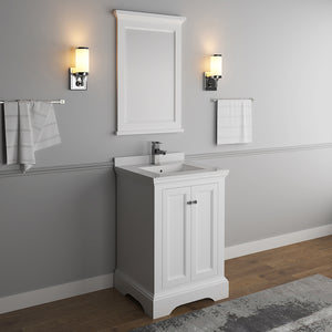 "Fresca Windsor 24"" Matte White Traditional Bathroom Vanity w/ Mirror"