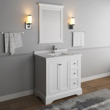 "Load image into Gallery viewer, Fresca Windsor 36"" Matte White Traditional Bathroom Vanity w/ Mirror"