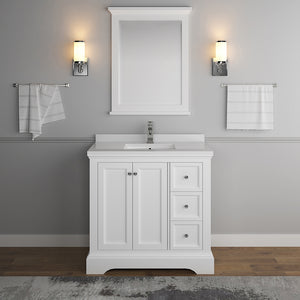 "Fresca Windsor 36"" Matte White Traditional Bathroom Vanity w/ Mirror"
