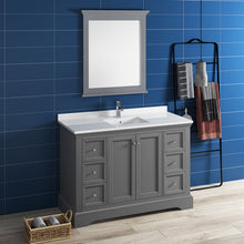 "Load image into Gallery viewer, Fresca Windsor 48"" Gray Textured Traditional Bathroom Vanity w/ Mirror"