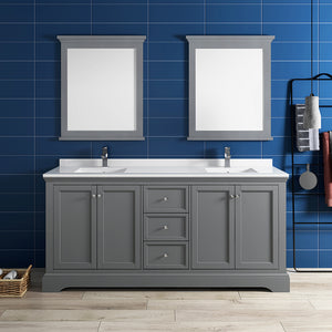 "Fresca Windsor 72"" Gray Textured Traditional Double Sink Bathroom Vanity w/ Mirrors"