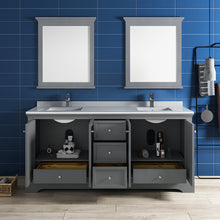 "Load image into Gallery viewer, Fresca Windsor 72"" Gray Textured Traditional Double Sink Bathroom Vanity w/ Mirrors"