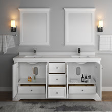 "Load image into Gallery viewer, Fresca Windsor 72"" Matte White Traditional Double Sink Bathroom Vanity w/ Mirrors"