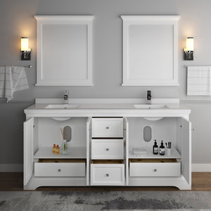 "Fresca Windsor 72"" Matte White Traditional Double Sink Bathroom Vanity w/ Mirrors"