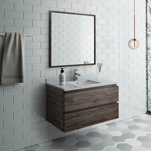 "Fresca Formosa 36"" Wall Hung Modern Bathroom Vanity w/ Mirror"