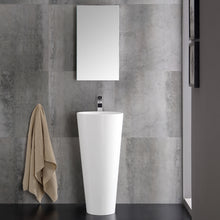 "Load image into Gallery viewer, Fresca Messina 16"" White Pedestal Sink w Medicine Cabinet - Modern Bathroom Vanity"
