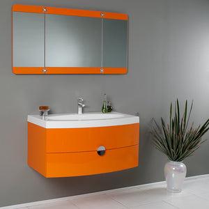 "Fresca Energia 36"" Orange Modern Bathroom Vanity w/ Three Panel Folding Mirror"