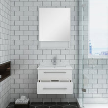 "Load image into Gallery viewer, Fresca Lucera 24"" White Wall Hung Undermount Sink Modern Bathroom Vanity w/ Medicine Cabinet"