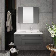 "Load image into Gallery viewer, Fresca Lucera 36"" Gray Wall Hung Undermount Sink Modern Bathroom Vanity w/ Medicine Cabinet - Left Version"