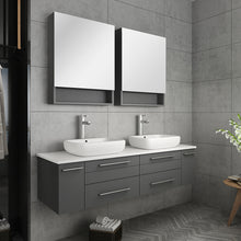 "Load image into Gallery viewer, Fresca Lucera 60"" Gray Wall Hung Double Vessel Sink Modern Bathroom Vanity w/ Medicine Cabinets"