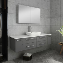 "Load image into Gallery viewer, Fresca Lucera 60"" Gray Wall Hung Single Vessel Sink Modern Bathroom Vanity w/ Medicine Cabinet"