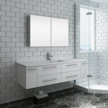 "Load image into Gallery viewer, Fresca Lucera 60"" White Wall Hung Single Undermount Sink Modern Bathroom Vanity w/ Medicine Cabinet"