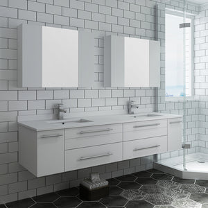 "Fresca Lucera 72"" White Wall Hung Double Undermount Sink Modern Bathroom Vanity w/ Medicine Cabinets"