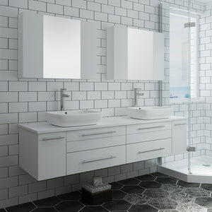 "Fresca Lucera 72"" White Wall Hung Double Vessel Sink Modern Bathroom Vanity w/ Medicine Cabinets"