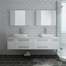 "Load image into Gallery viewer, Fresca Lucera 72"" White Wall Hung Double Vessel Sink Modern Bathroom Vanity w/ Medicine Cabinets"