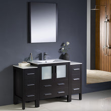 "Load image into Gallery viewer, Fresca Torino 54"" Espresso Modern Bathroom Vanity w/ 2 Side Cabinets & Integrated Sink"