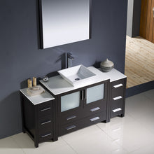 "Load image into Gallery viewer, Fresca Torino 60"" Espresso Modern Bathroom Vanity w/ 2 Side Cabinets & Vessel Sink"