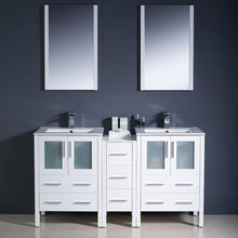 "Load image into Gallery viewer, Fresca Torino 60"" White Modern Double Sink Bathroom Vanity w/ Side Cabinet & Integrated Sinks"