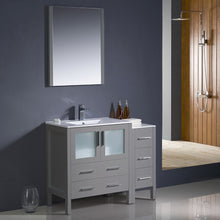 "Load image into Gallery viewer, Fresca Torino 42"" Gray Modern Bathroom Vanity w/ Side Cabinet & Integrated Sink"