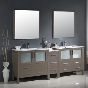 "Fresca Torino 84"" Gray Oak Modern Double Sink Bathroom Vanity w/ Side Cabinet & Integrated Sinks"