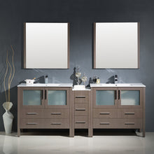 "Load image into Gallery viewer, Fresca Torino 84"" Gray Oak Modern Double Sink Bathroom Vanity w/ Side Cabinet & Integrated Sinks"