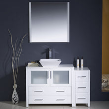 "Load image into Gallery viewer, Fresca Torino 48"" White Modern Bathroom Vanity w/ Side Cabinet & Vessel Sink"