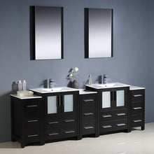 "Load image into Gallery viewer, Fresca Torino 84"" Espresso Modern Double Sink Bathroom Vanity w/ 3 Side Cabinets & Integrated Sinks"